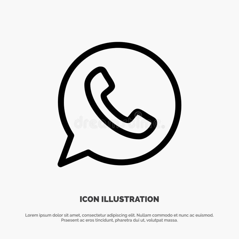 App, bate-papo, telefone, watts da linha vetor do App do ícone ilustração do vetor