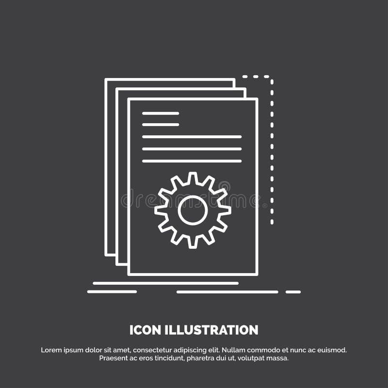 App, budowa, przedsi?biorca budowlany, program, pismo ikona Kreskowy wektorowy symbol dla UI, UX, strona internetowa i wisz?cej o ilustracji