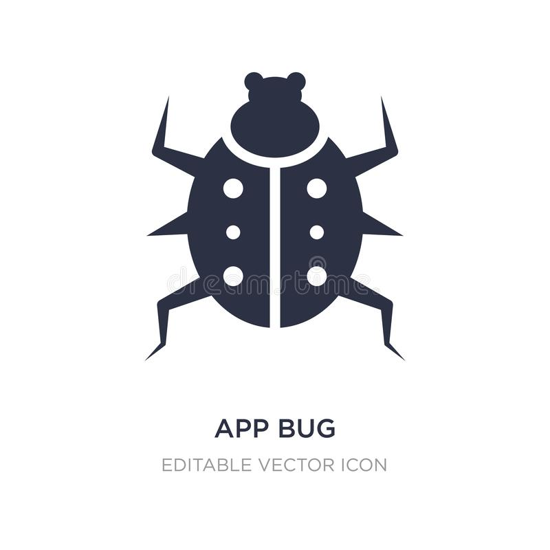 App bug icon on white background. Simple element illustration from Animals concept. App bug icon symbol design stock illustration