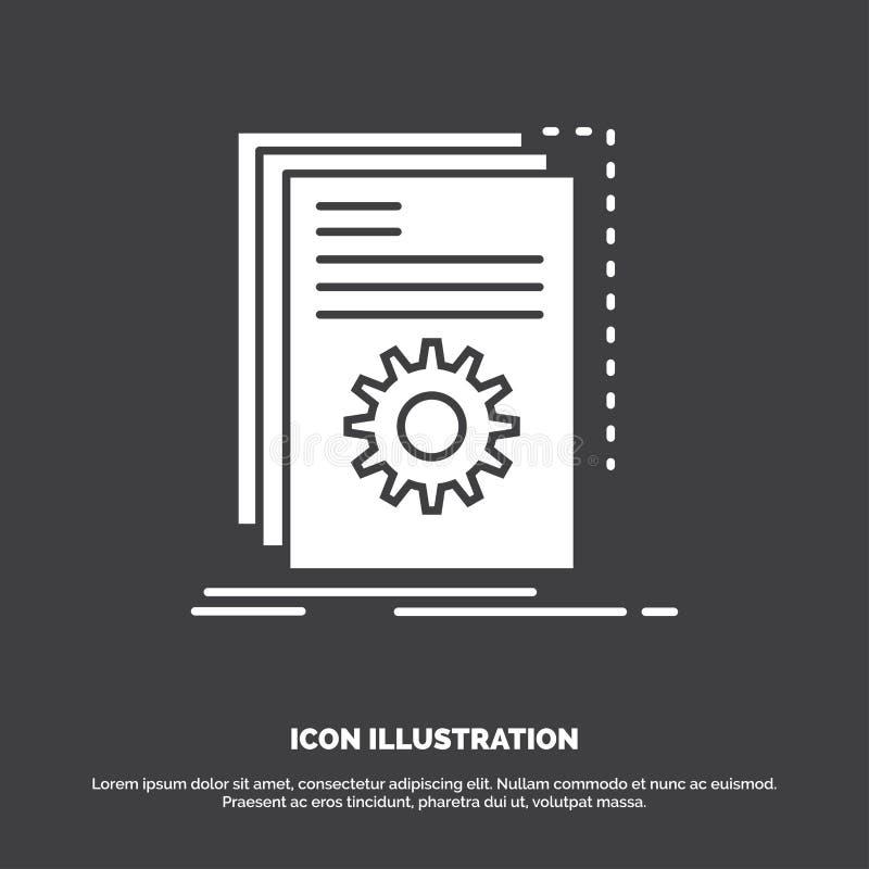 App, construção, colaborador, programa, ícone do roteiro s?mbolo do vetor do glyph para UI e UX, Web site ou aplica??o m?vel ilustração do vetor