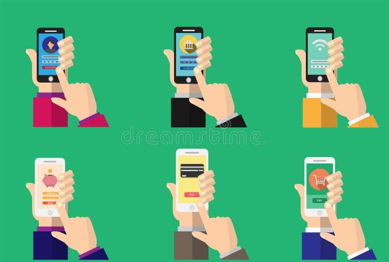 App contante mobile sullo schermo dello smartphone illustrazione vettoriale