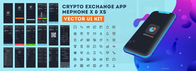 App cripto XE da troca ou de vetor UI de XS jogo ilustração stock