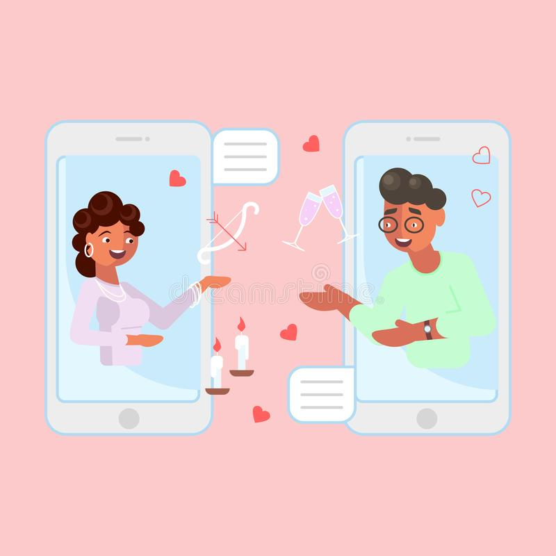 App datando móvel ilustração do vetor