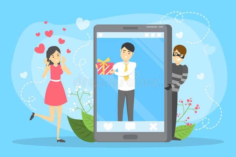 APP datant en ligne Relations et amour virtuels illustration libre de droits
