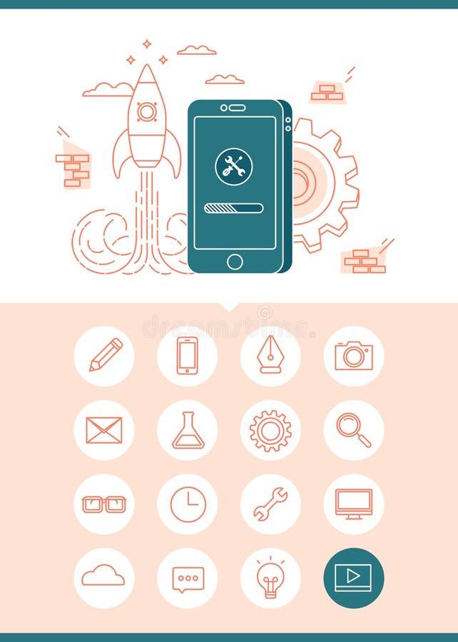 App de banner van het ontwikkelingsconcept met een reeks verwante pictogrammen royalty-vrije illustratie