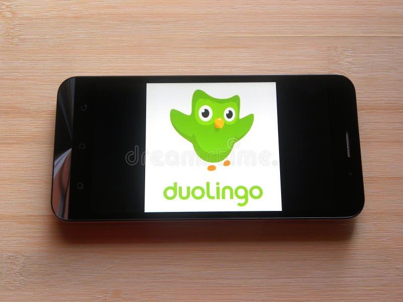 App de Duolingo fotos de archivo libres de regalías