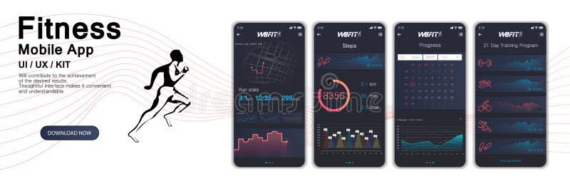 App de Fitnes UI diferente, UX, telas do GUI ilustração royalty free