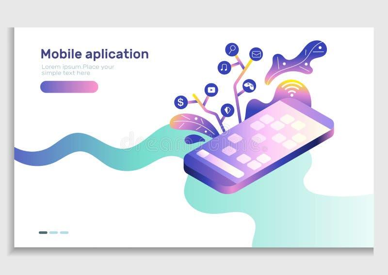 App de gradiënt vectorillustratie van het ontwikkelingsmobiele web Isometrische mobiele telefoon met pictogram van toepassing Geb royalty-vrije illustratie