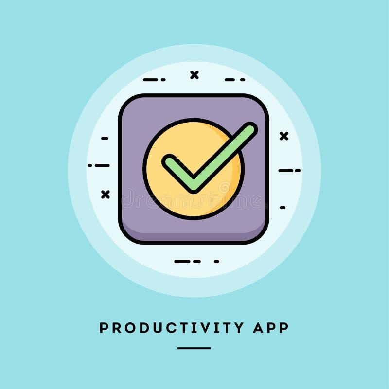 App de la productividad, línea fina bandera del diseño plano stock de ilustración