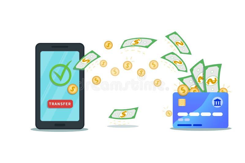 App de la transferencia monetaria Smartphone plano con la tarjeta de crédito del nfc, la marca de verificación y el botón de la t ilustración del vector