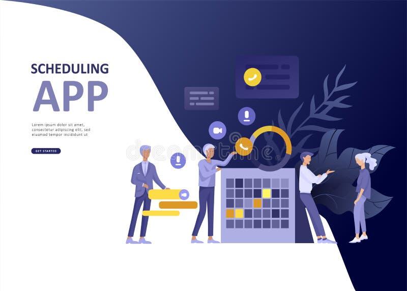 App de previsión del aterrizaje de la página de la plantilla del negocio determinado de la gente, fusión de la planificación estr stock de ilustración