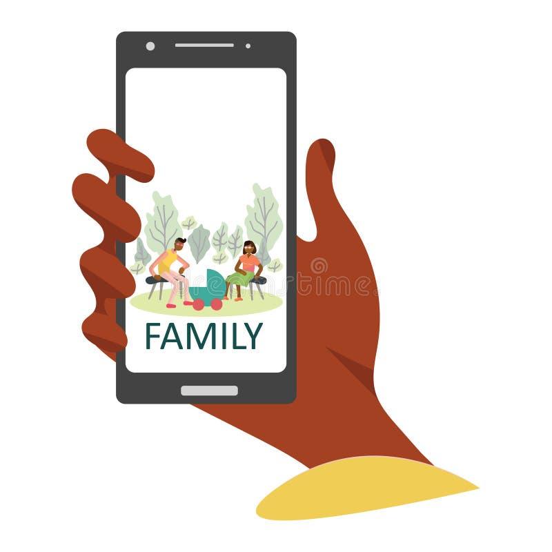 App de Smartphone com atividades da família ilustração stock