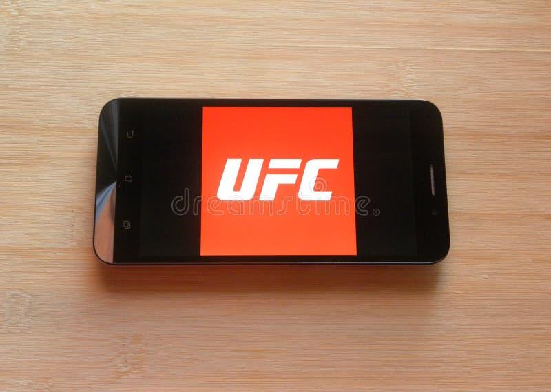 App de UFC en el teléfono móvil imagen de archivo