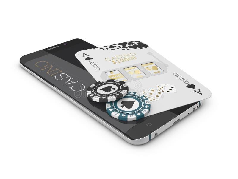 App del casino de Internet, tarjeta y microprocesador en línea en el teléfono, juegos del póker del casino de juego ilustración 3 ilustración del vector