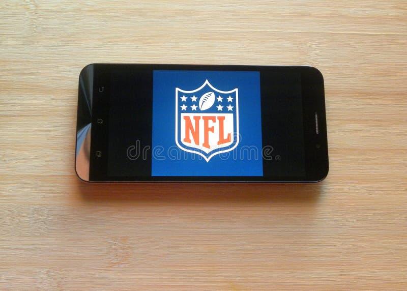 App del NFL en el teléfono móvil fotos de archivo