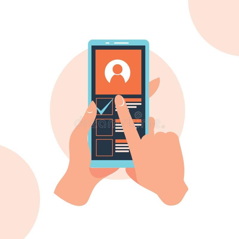 App del teléfono de la tenencia de la mano en el ejemplo plano del estilo del diseño de la pantalla ilustración del vector