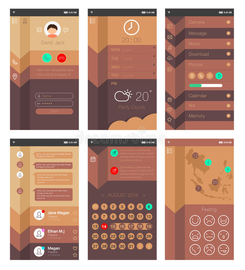 Template for mobile app design stock illustration