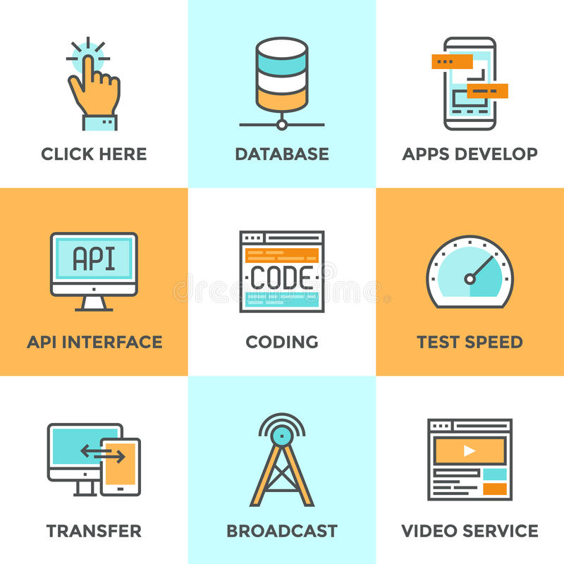 App develop and data technology line icons set royalty free illustration