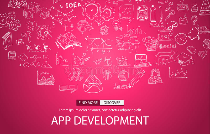 App Development Concept with Doodle design style royalty free illustration