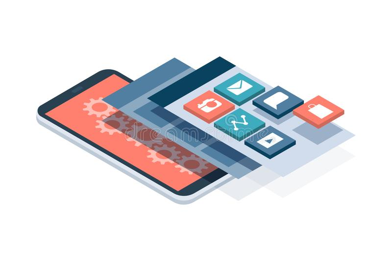 App development and user interface. App development and web design: layered user interfaces and screens on a touch screen smartphone royalty free illustration