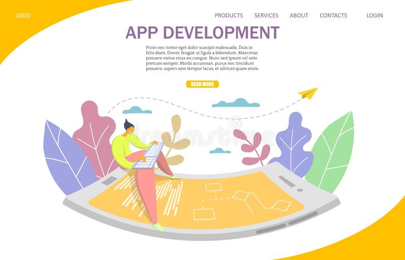 App development vector website landing page design template. App development vector website template, web page and landing page design for website and mobile stock illustration