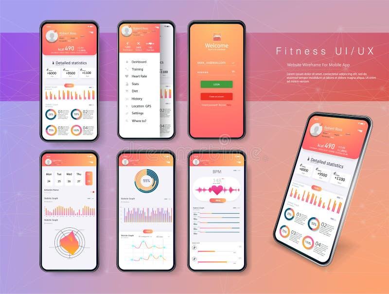 App di forma fisica degli schermi differenti di UI, di UX, del GUI ed icone piane di web per i apps mobili, sito Web rispondente  illustrazione di stock