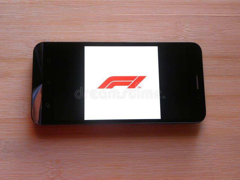 App di formula 1 sullo smartphone fotografia stock