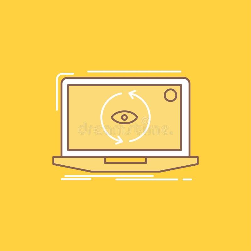 App, die Anwendung, neu, Software, Aktualisierung flache Linie füllte Ikone Sch?ner Logoknopf ?ber gelbem Hintergrund f?r UI und  lizenzfreie abbildung