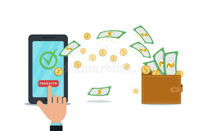 App digital móvel da carteira ou transferência em linha do fundo, dinheiro para retirar o conceito Smartphone liso com marca de v ilustração stock