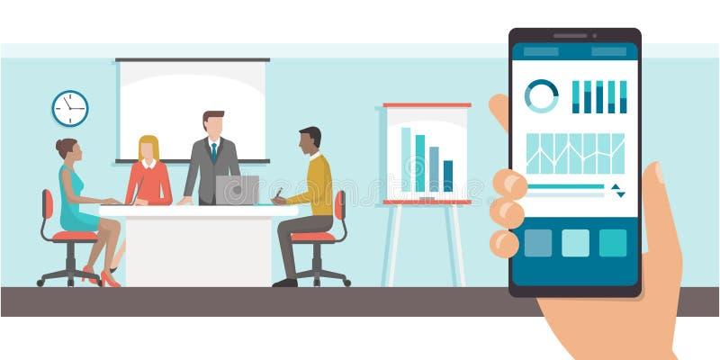 App e reunião de negócios financeiros ilustração royalty free