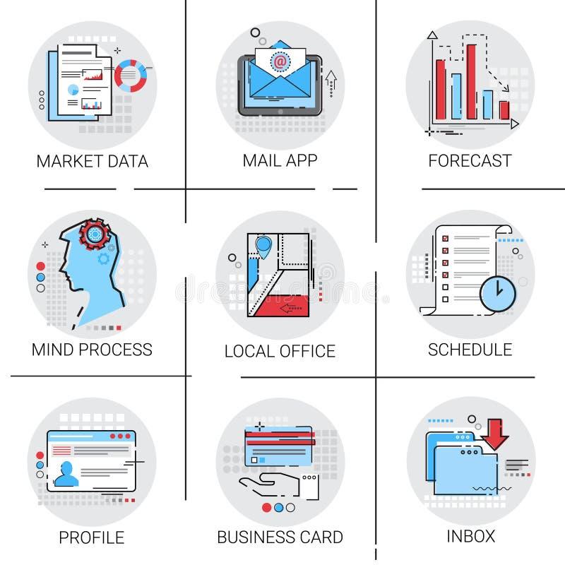 App emaila Inbox wiadomości poczta, Targowa dane prognoza, rozkład wizytówki ikony set royalty ilustracja