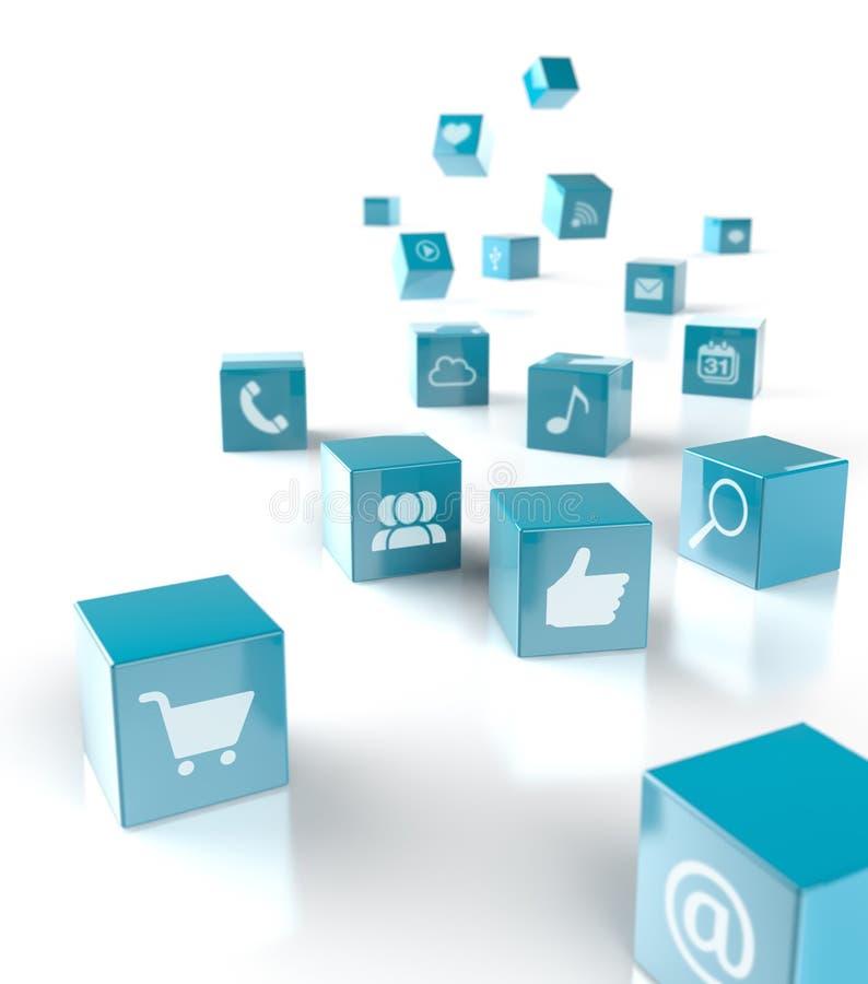 App en sociale media pictogrammen vector illustratie
