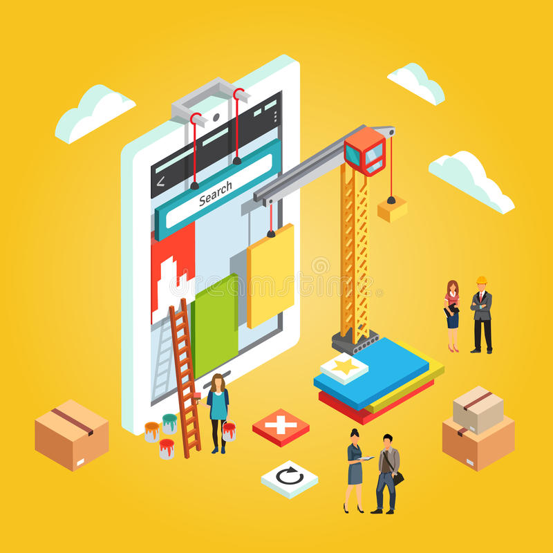 App engineers building mobile web app ux interface. Team of app engineers and their leader building mobile web app ux interface. Application development concept vector illustration