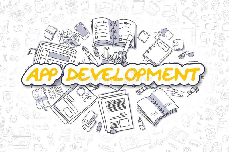 APP-Entwicklung - Gekritzel-gelbes Wort Die goldene Taste oder Erreichen für den Himmel zum Eigenheimbesitze vektor abbildung