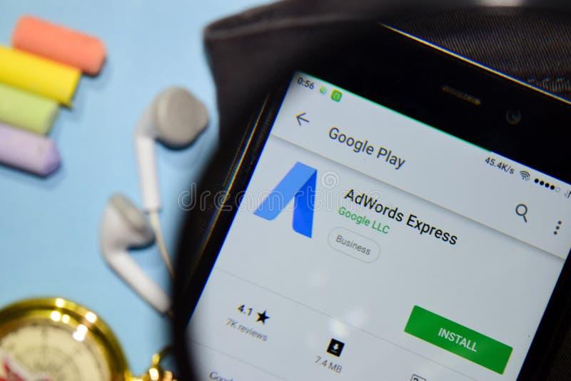 App expresso do colaborador de Google AdWords com ampliação na tela de Smartphone fotografia de stock