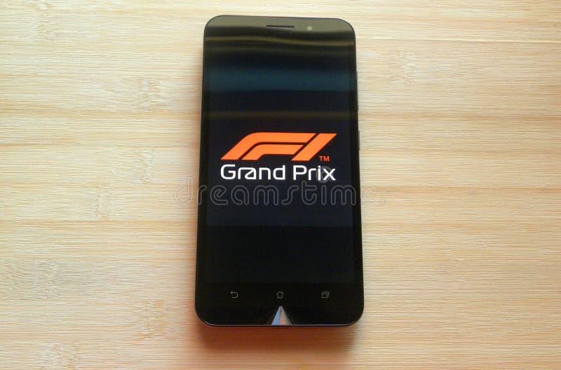 App F1 Grand Prix am Handy stockfotos