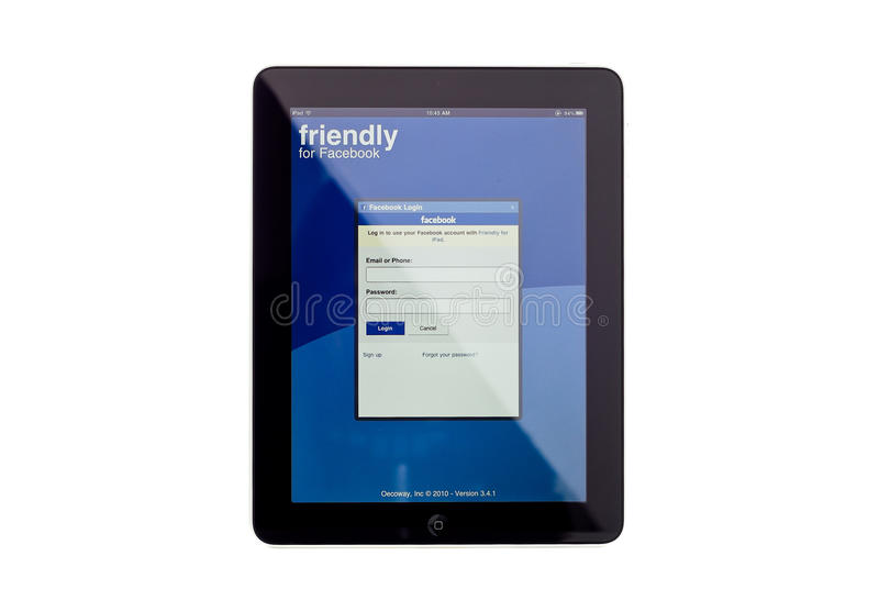 app facebook ipad στοκ εικόνες