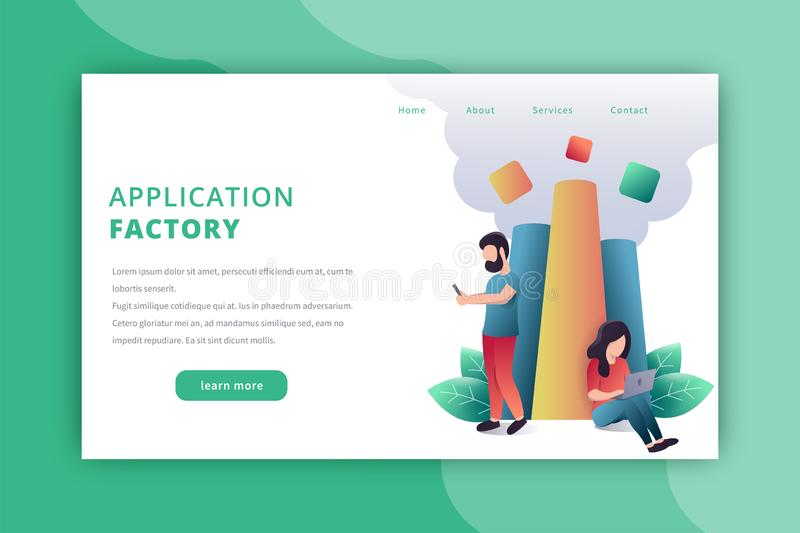 Application factory landing page stock photos