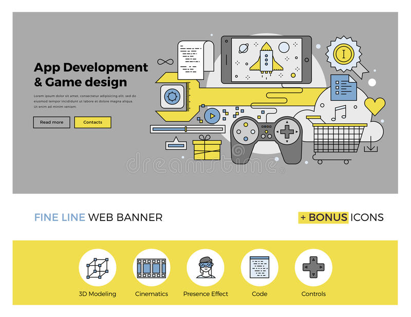 App and game develop flat line banner. Flat line design of web banner template with outline icons of software application development, mobile OS game programming royalty free illustration