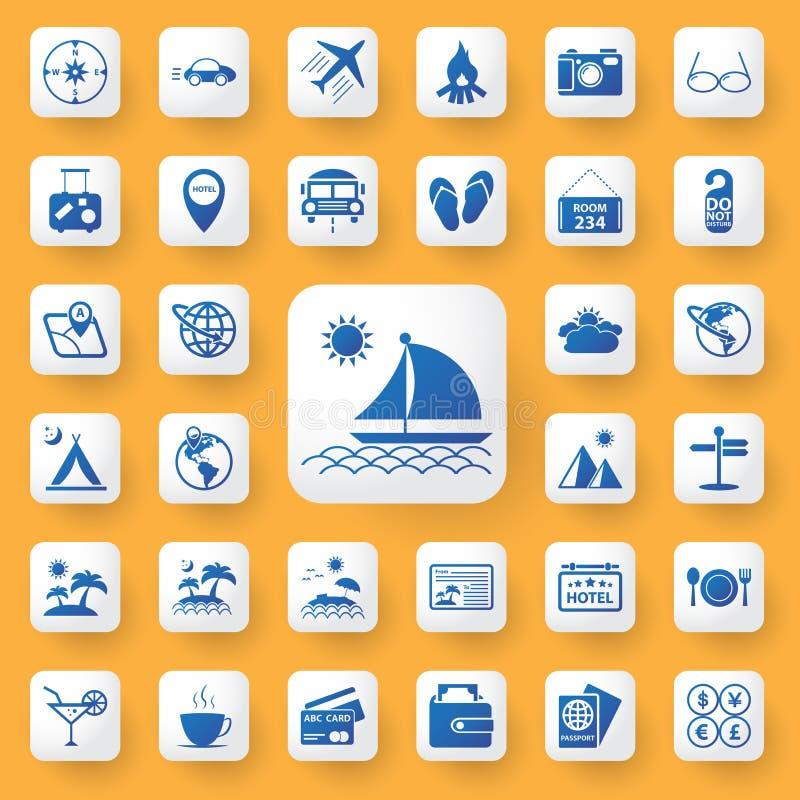 App geplaatste het tekenpictogrammen van de pictogramreis Vector illustratie royalty-vrije illustratie