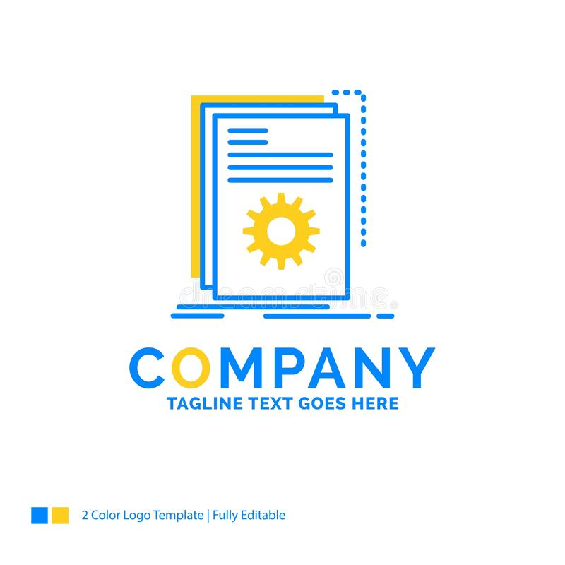 App, Gestalt, Entwickler, Programm, Skript blaues gelbes Geschäfts-Logo lizenzfreie abbildung