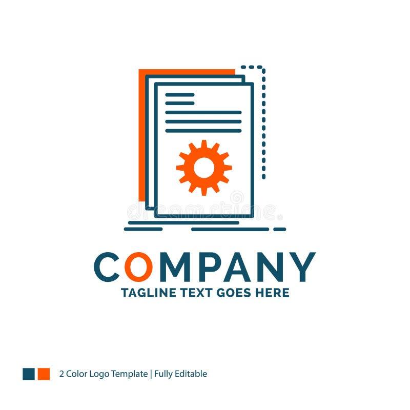 App, Gestalt, Entwickler, Programm, Skript Logo Design Blau und Ora vektor abbildung