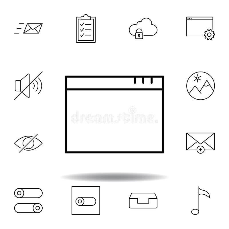 App het pictogram van het vensteroverzicht Gedetailleerde reeks unigridillustratiespictogrammen van verschillende media Kan voor  stock illustratie