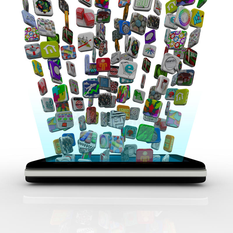 Free App Icons Downloading Into Smart Phone Stock Photography - 18044602