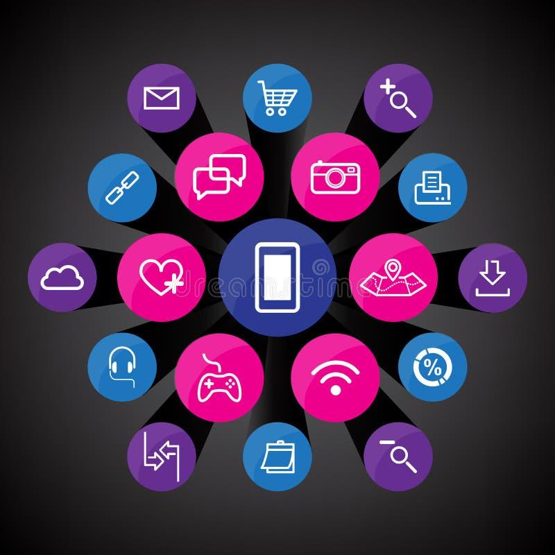 App icons set vector illustration