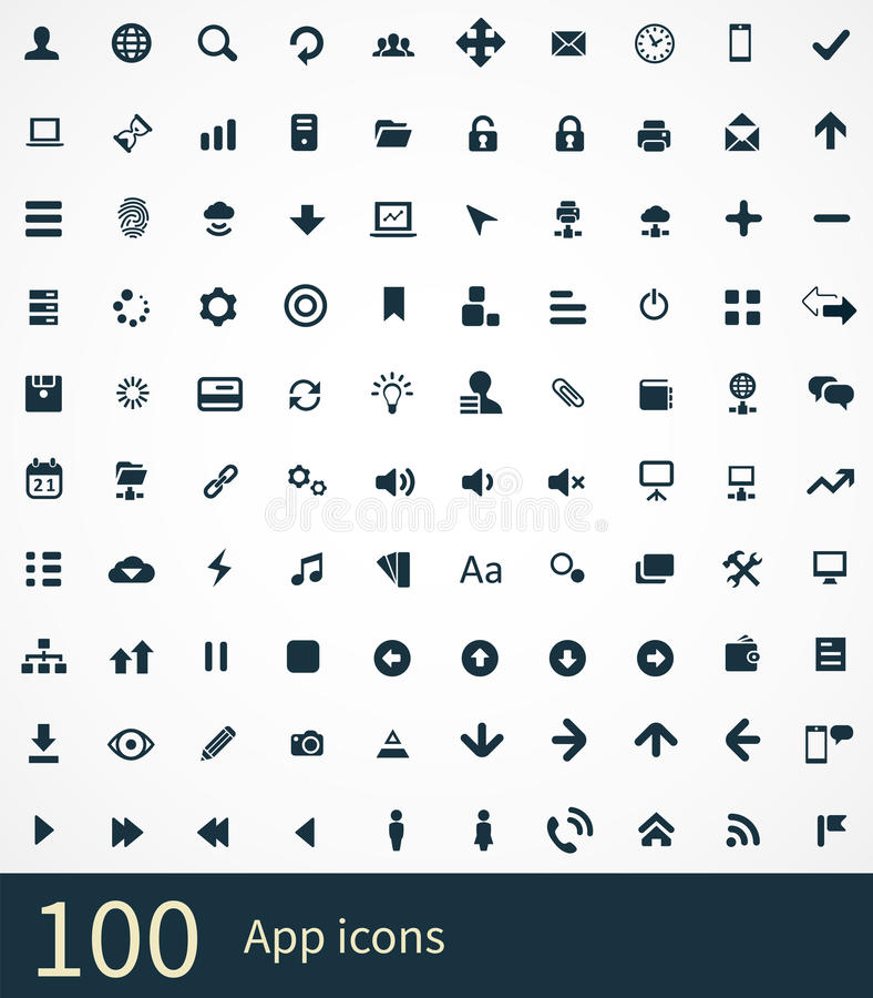100 app icons stock illustration