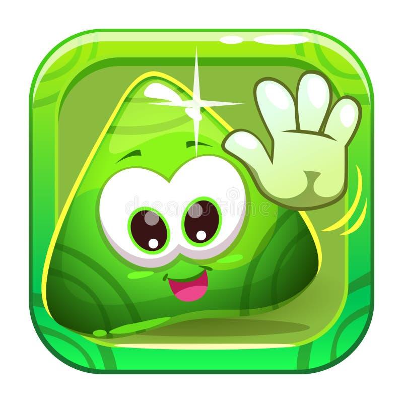 App ikona z śmiesznym ślicznym zielonym charakterem ilustracja wektor