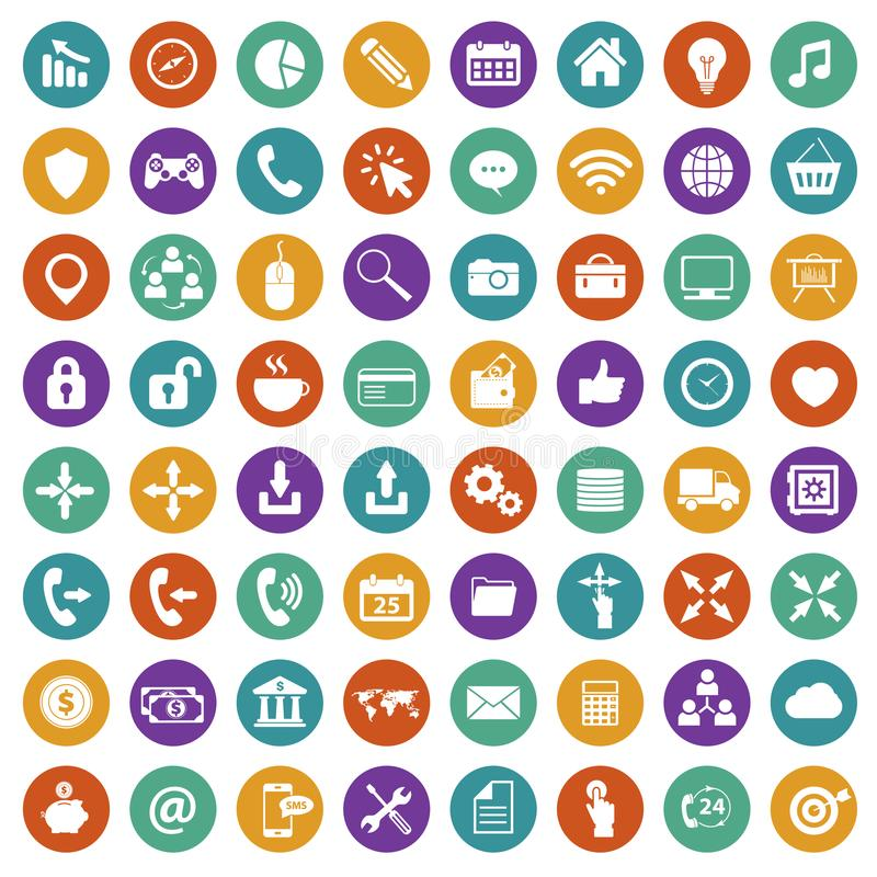APP-Ikonen-Satz Ikonen für Website und bewegliche Anwendungen flach lizenzfreie abbildung