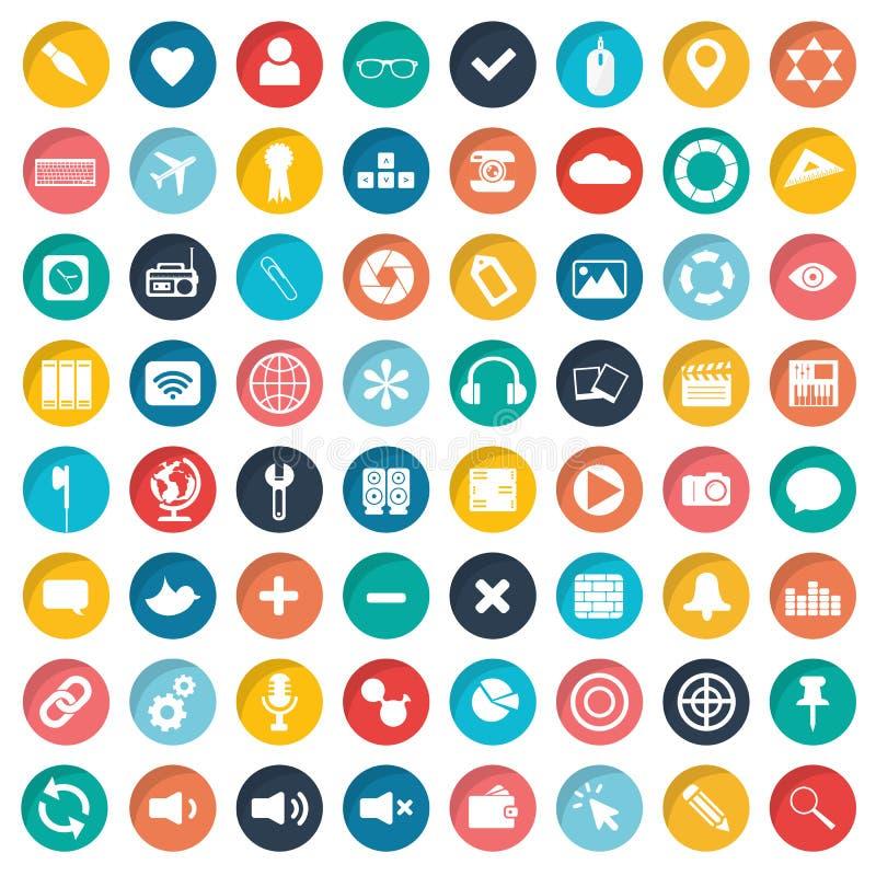 App ikony set Ikony dla stron internetowych i wiszących ozdób zastosowań mieszkanie ilustracja wektor