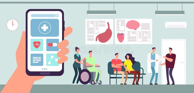 App médico Uso del teléfono móvil de la atención sanitaria Paciente y enfermera en sala de espera del doctor en hospital Concepto ilustración del vector